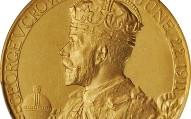 GREAT BRITAIN. George V & Mary Coronation Gold Medal, 1911. London Mint. PCGS SPECIMEN-65 Gold Shield.