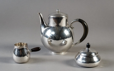 Georg Jensen, coffee service set in hammered sterling silver (3)