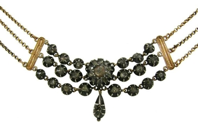 Georgian Diamond Silver Yellow Gold NECKLACE French