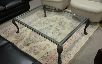 """Glass top coffee table with iron base, ht. 15"""", top 35"""""""