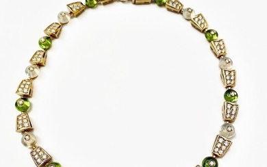 Gold Diamond and Perido necklace Signed Bulgari