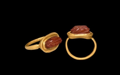 Greek Boar Gemstone in Gold Ring