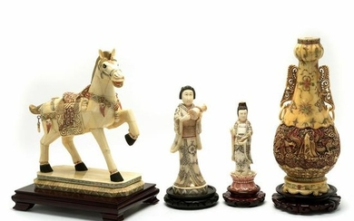 Group of Chinese Ox Bone Items