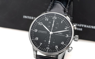 IWC, REF. 3714, PORTUGUESE CHRONOGRAPH, BLACK DIAL, STEEL