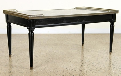 JANSEN STYLE EBONIZED COFFEE TABLE MARBLE TOP