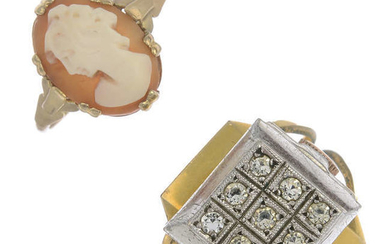 Jewellery, comprising cultured pearl necklace, a shell cameo ring, a watch ring, with further items.