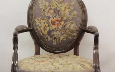 Late 19th / early 20th century mahogany and floral embroidery upholstered open armchair