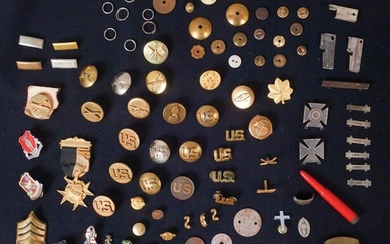 Lot of 97 Assorted Pins, Medals, and Parts