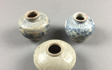 MINIATURE JARS - 3 pieces, China, Ming Dynasty or earlier.