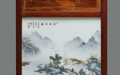 "OLD Chinese Famille Rose Porcelain plaque with figurines and landscape, marked by Yeting Wang. 15 1/2"" x 27 1/2"""