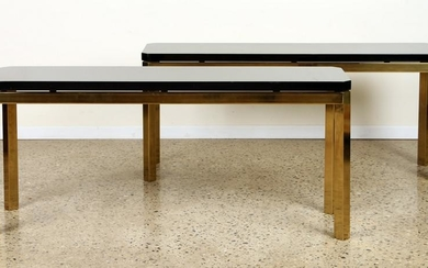 PAIR FRENCH WOOD AND BRASS CONSOLE TABLES C.1980