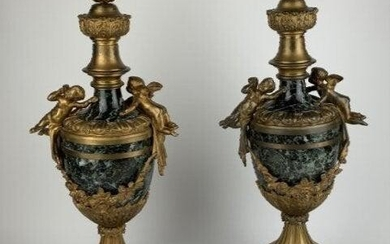 PAIR OF FRENCH DORE BRONZE AND MARBBLE CASSOLETTES