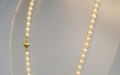 PEARL NECKLACE REAL WHITE CULTURED PEARLS 14 CARAT YELLOW GOLD.