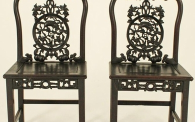 PR OF CHINESE CARVED TEAKWOOD COURT CHAIRS, QING