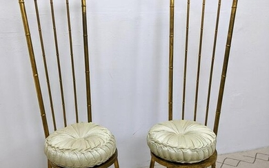 Pair Italian Style Gilt Metal Chairs with Tall Backs.