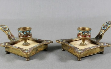 Pair Of French Champleve Enamel And Marble