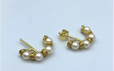 Pair of 18ct yellow gold diamond and pearl earrings (0.10ct)...