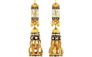 Pair of Antique Gold and Black and White Enamel Pendant-Earrings, France