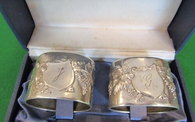 Pair of Antique Solid Silver Decorated Oval Form Napkin Ring...