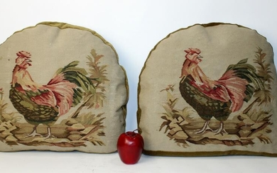 Pair of Aubusson chair seat pillows with roosters