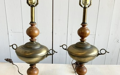 Pair of Brass and Wood Table Lamps