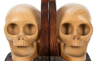 Pair of Carved Wooden Skull Bookends.
