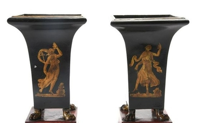 Pair of Directoire Style Tole Vases.