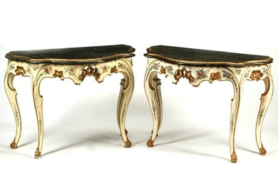 Pair of Louis XV Style Painted and Parcel Gilt Consoles