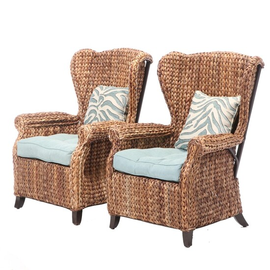 Imports Wicker Wingback Patio Armchairs, Pier 1 Imports Outdoor Seat Cushions