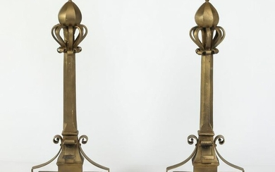 "Pair of oversized cast iron andirons, 36""h"