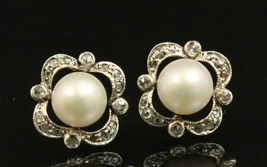 Pr of 18k Diamond and pearl earrings