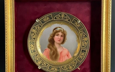 ROYAL VIENNA PORTRAIT PLATE SIGNED WAGNER