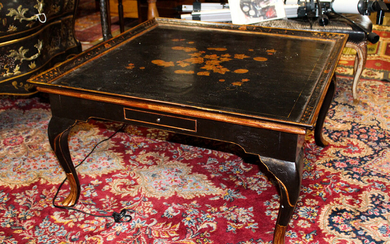 Regency style black and gold leaf japanned coffee table