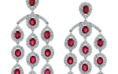 Ruby Diamond Chandelier Gold Drop Earrings