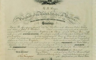 Rutherford B. Hayes Document Signed