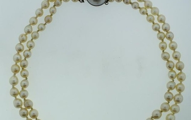 SOUTH SEA PEARL DOUBLE STRAND NECKLACE SILVER MOBE