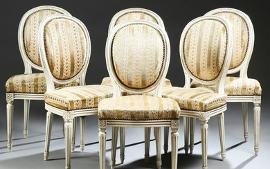 Set of Six French Carved Polychromed Beech Dining