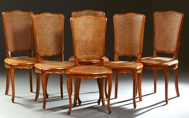 Set of Six French Louis XV Style Carved Cherry Dining
