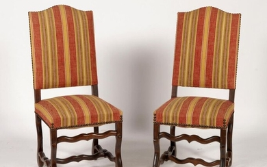 Set of eight Louis XIII style chairs upholstered in yellow...
