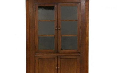 Southern Chippendale Walnut Corner Cupboard