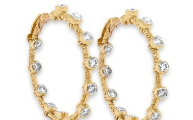 Stambolian Yellow Gold and Diamond Inside-out Hoop