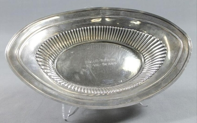 "Sterling Silver Oval Bowl 11"" L 6.5"" W 2"" H 5.6 Oz"