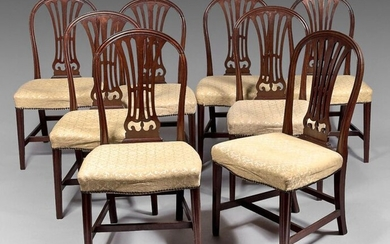 Suite of eight large dining room chairs in mahogany and...