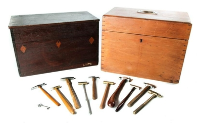 TWO AMERICAN BOXES AND JEWELER HAMMERS.