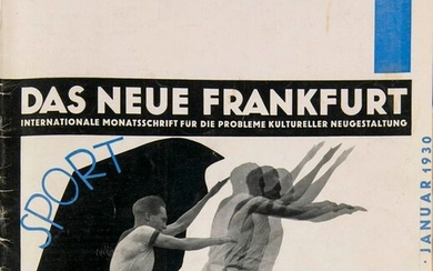 The new Frankfurt. International monthly for the problems of cultural design. Edited by Ernst May and Fritz Wichert. Vol. IV (1930). Issues 1-12 (in 9) in 1 vol., front covers also bound. Design by Hans Leistikow. With numerous illustrations and 2...