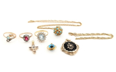 Topaz ring of 18k gold, two rings, two pendants, ankle chain and turquoise necklace of...