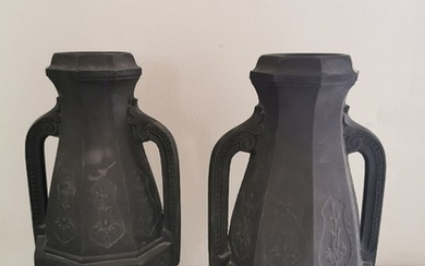 Two 19th century amphora-shaped terracotta vases. H. 28 cm. (2)