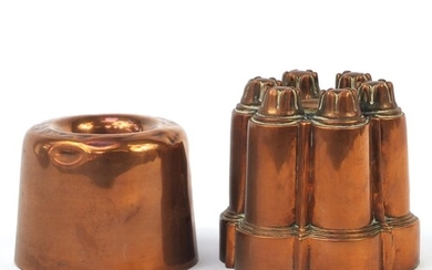 Two 19th century copper jelly moulds, the largest 13cm high