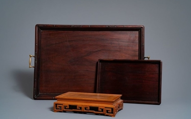 Two Chinese carved wooden trays and a stand,...