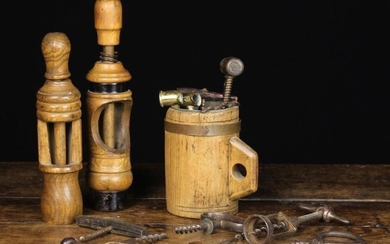 Two Vintage Turned Treen Bottle Corkers, a Collection of Antique & vintage Corkscrews in a coopered